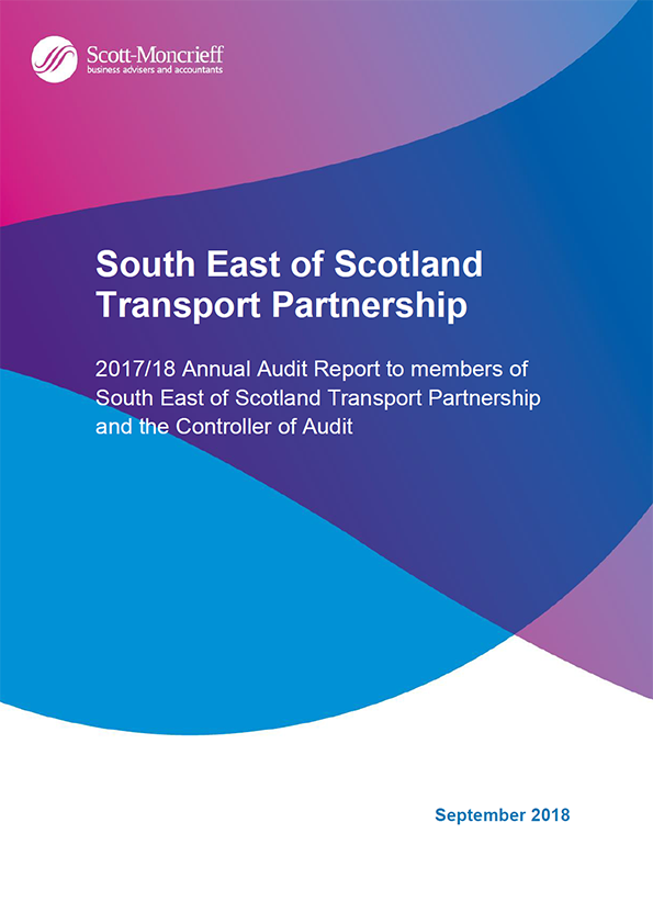 Report cover: South East of Scotland Transport Partnership annual audit report 2017/18