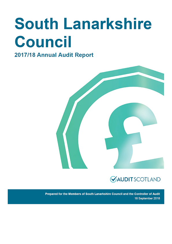 Report cover: South Lanarkshire Council annual audit report 2017/18