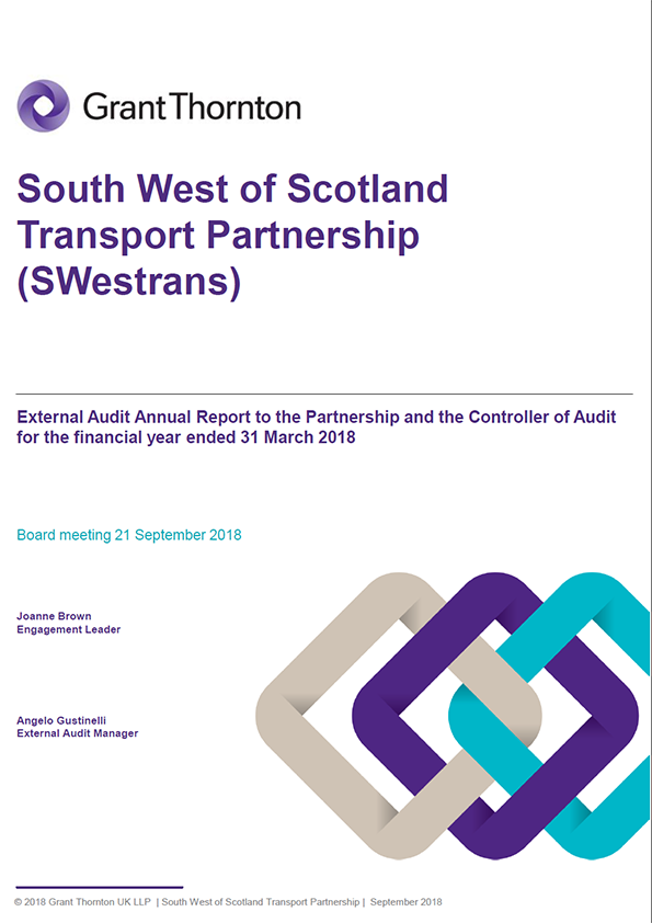 Report cover: South West of Scotland Transport Partnership annual audit report 2017/18