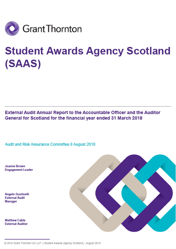 Report cover: Student Awards Agency Scotland annual audit report 2017/18
