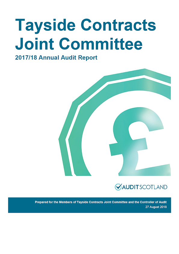 Report cover: Tayside Contracts Joint Committee annual audit report 2017/18