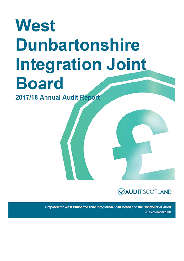 Report cover: West Dunbartonshire Integration Joint Board annual audit report 2017/18