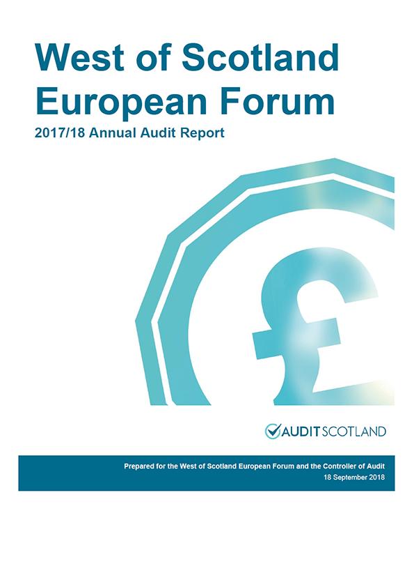 Report cover: West of Scotland European Forum annual audit report 2017/18
