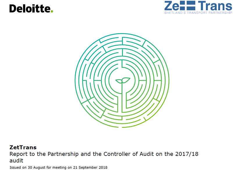 Report cover: Zetland Transport Partnership annual audit report 2017/18