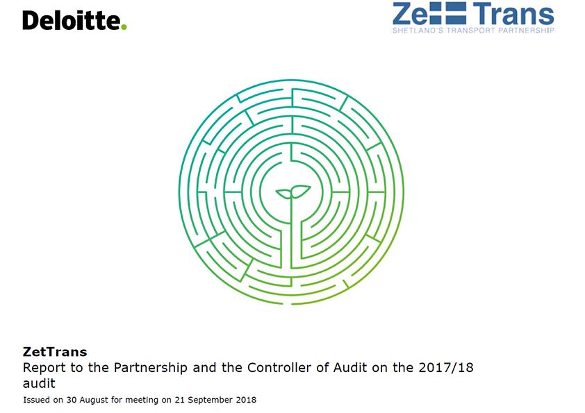 Report cover: Zetland Transport Partnership annual audit report 2017/18