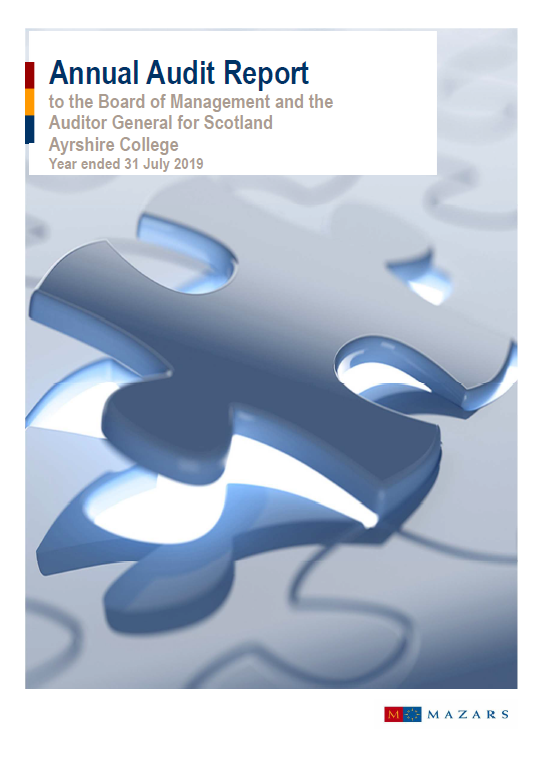 Report cover: Ayrshire College annual audit 2018/19