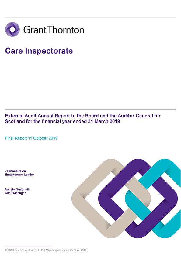 Report cover: Care Inspectorate annual audit report 2018/19