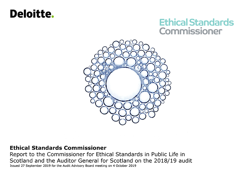 Report cover: Commissioner for Ethical Standards in Public Life in Scotland annual audit report 2018/19