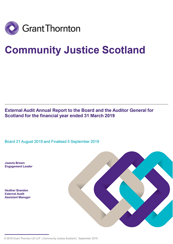 Report cover: Community Justice Scotland annual audit report 2018/19