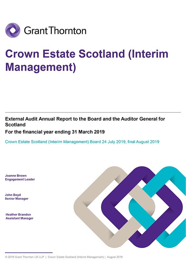 Report cover: Crown Estate Scotland annual audit report 2018/19