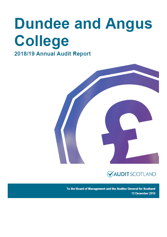 Report cover: Dundee and Angus College annual audit 2018/19