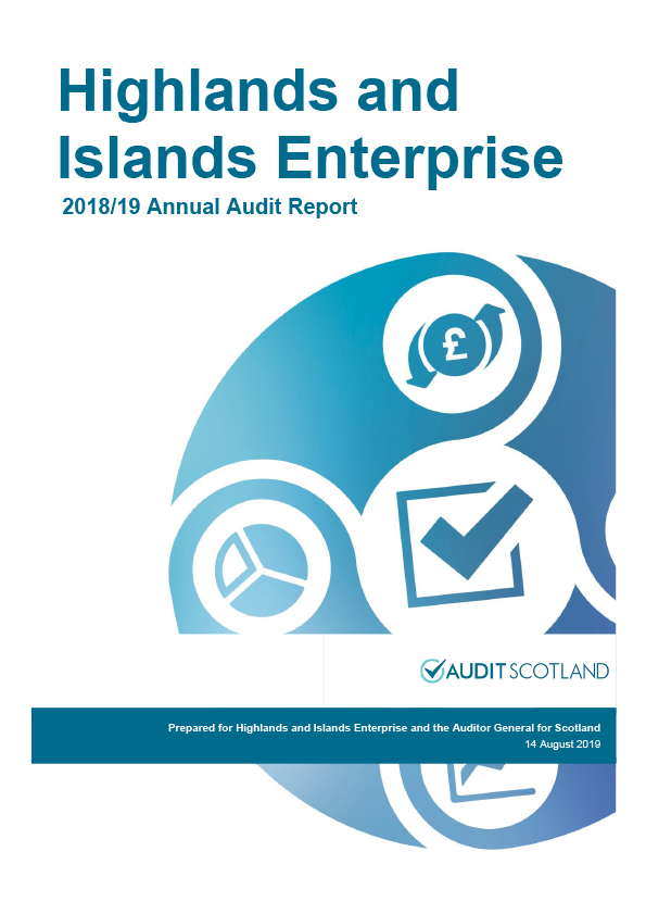 Report cover: Highlands and Islands Enterprise annual audit report 2018/19