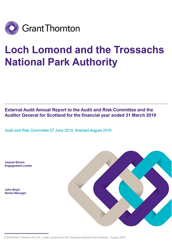 Report cover: Loch Lomond and the Trossachs National Park Authority annual audit report 2018/19