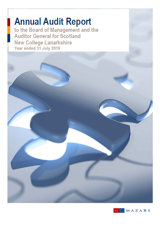 Report cover: New College Lanarkshire annual audit 2018/19