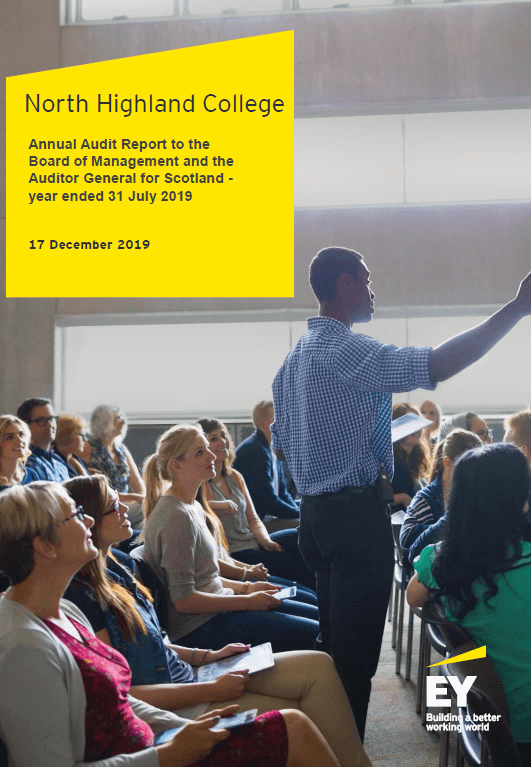 Report cover: North Highland College annual audit 2018/19