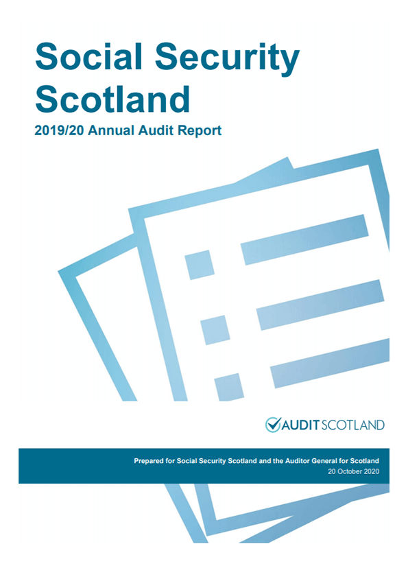 Report cover: Social Security Scotland annual audit report 2019/20