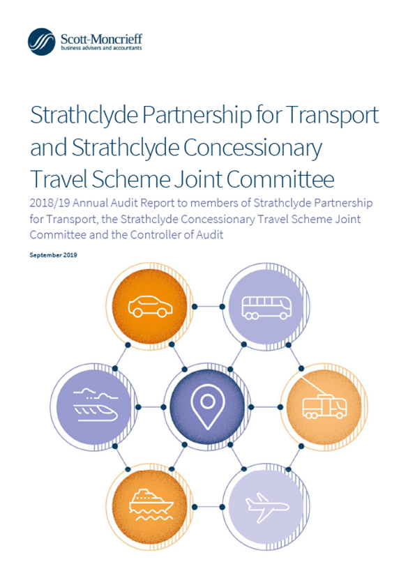 Report cover: Strathclyde Partnership for Transport and Strathclyde Concessionary Travel Scheme Joint Committee annual audit report 2018/19