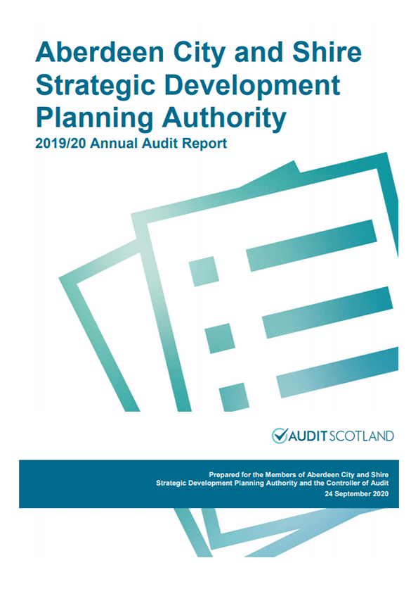 Report cover: Aberdeen City and Shire Strategic Development Planning Authority annual audit 2019/20