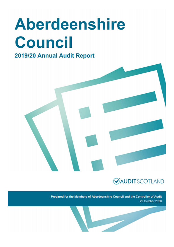 Report cover: Aberdeenshire Council annual audit 2019/20