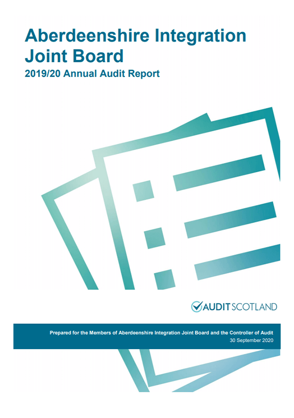 Report cover: Aberdeenshire Integration Joint Board annual audit 2019/20