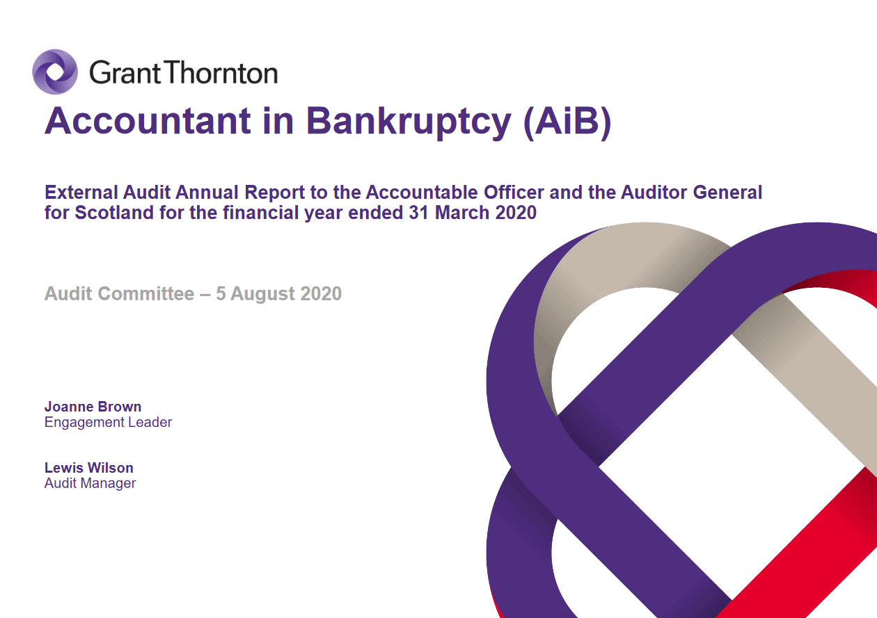 Report cover: Accountant in Bankruptcy annual audit 2019/20