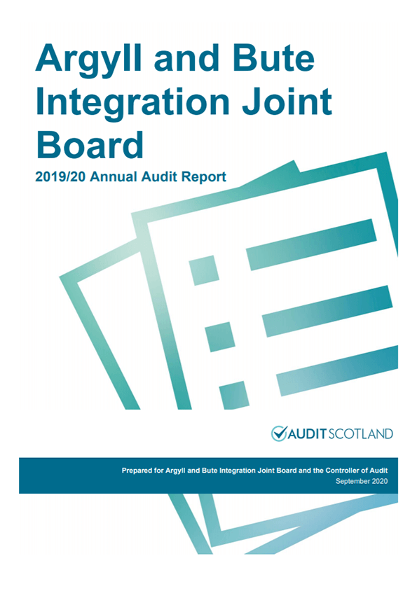 Report cover: Argyll and Bute Integration Joint Board annual audit 2019/20