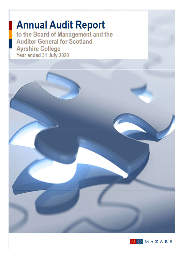Report cover: Ayrshire College annual audit 2019/20