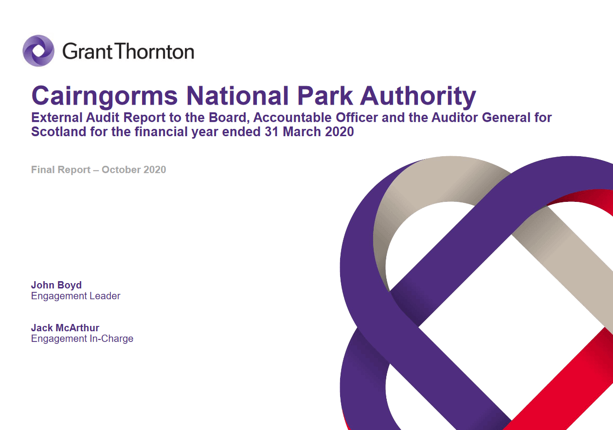 Report cover: Cairngorms National Park Authority annual audit 2019/20