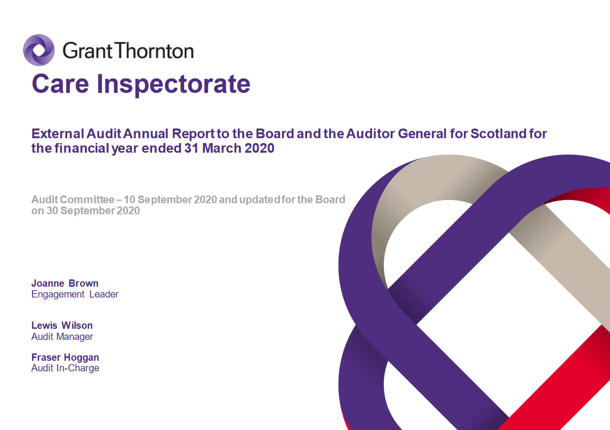 Report cover: Care Inspectorate annual audit 2019/20