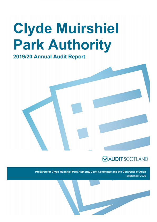 Report cover: Clyde Muirshiel Park Authority annual audit 2019/20