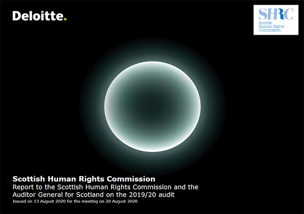 Report cover: Scottish Human Rights Commission annual audit 2019/20