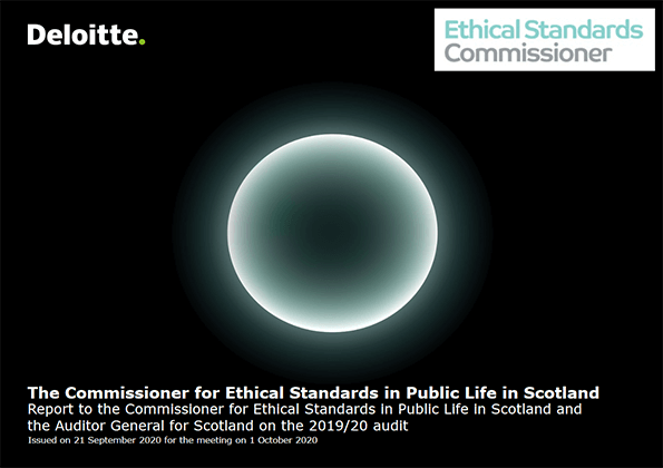 Report cover: Commissioner for Ethical Standards in Public Life in Scotland annual audit 2019/20