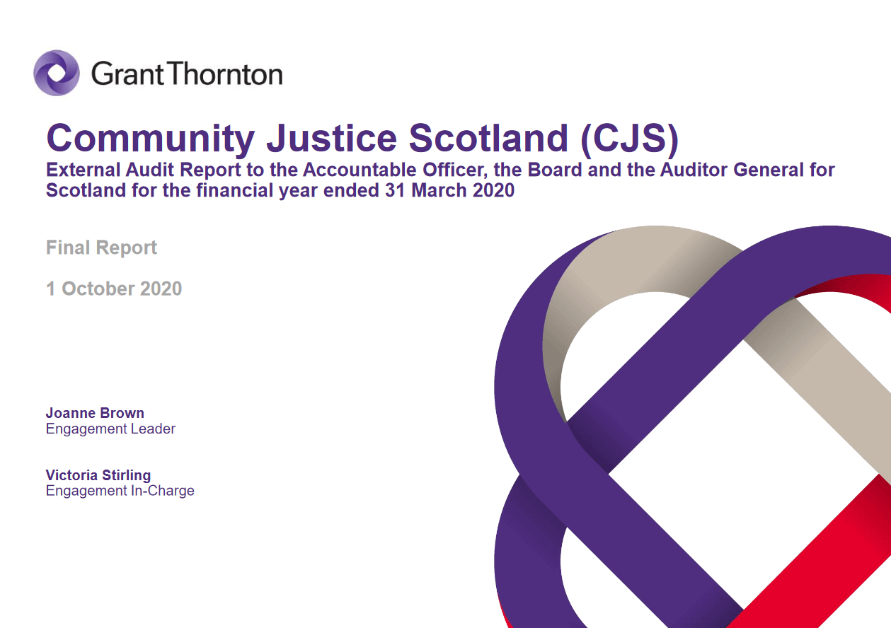 Report cover: Community Justice Scotland annual audit 2019/20