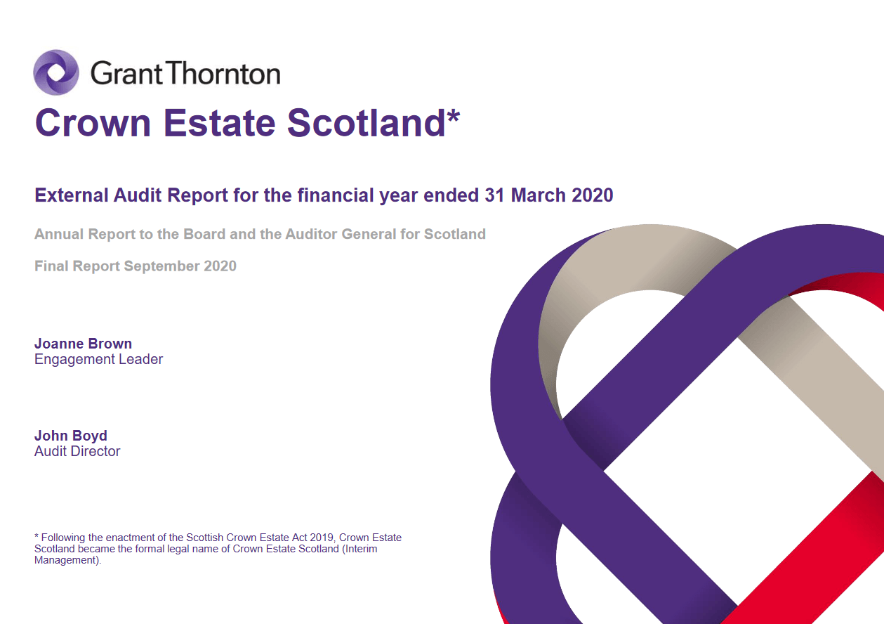 Report cover: Crown Estate Scotland annual audit 2019/20