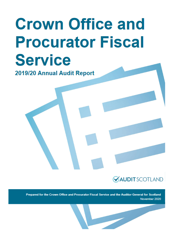 Report cover: Crown Office and Procurator Fiscal Service annual audit 2019/20