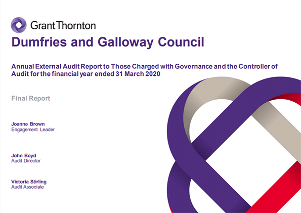 Report cover: Dumfries and Galloway Council annual audit 2019/20