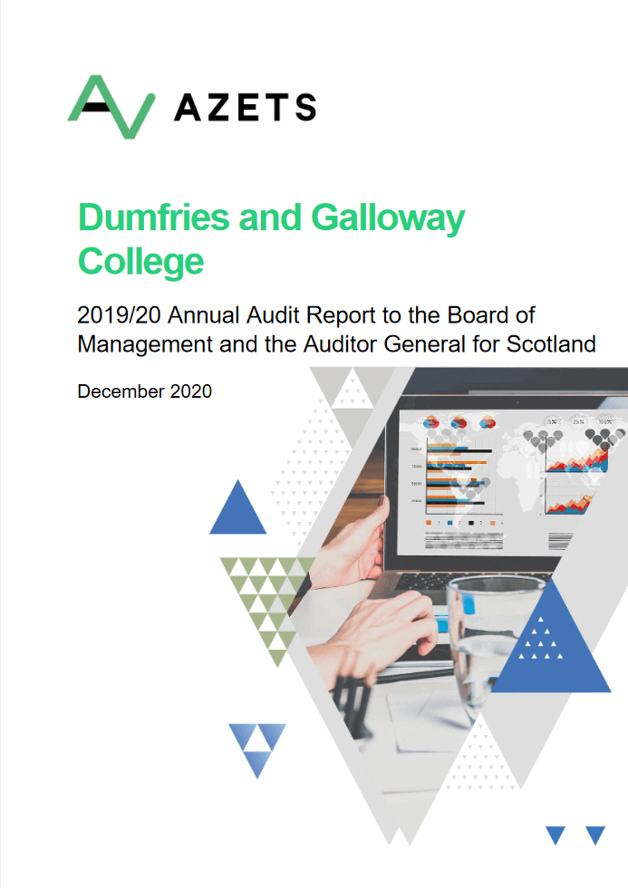 Report cover: Dumfries and Galloway College annual audit 2019/20