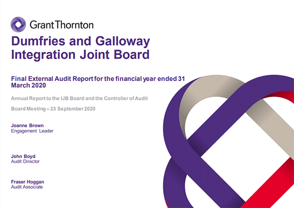 Report cover: Dumfries and Galloway Integration Joint Board annual audit 2019/20