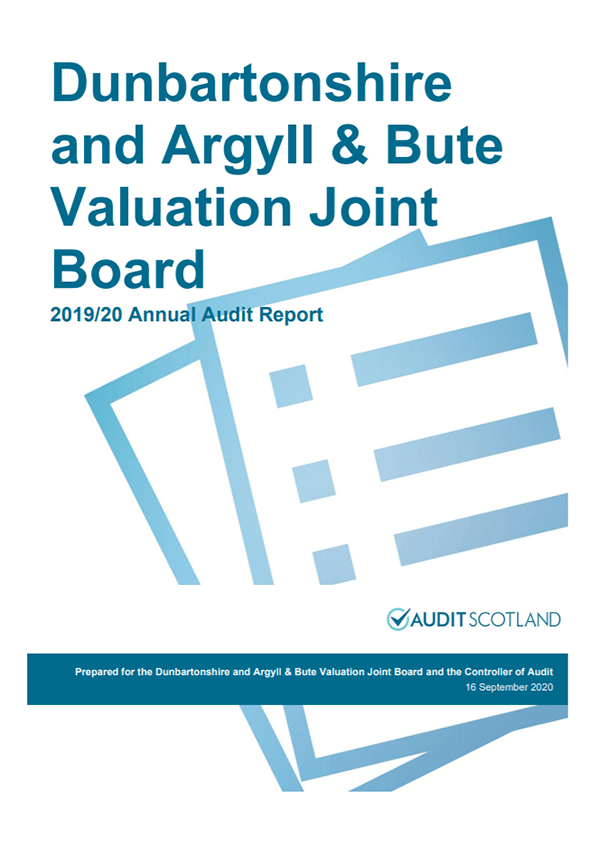 Report cover: Dunbartonshire and Argyll and Bute Valuation Joint Board annual audit plan 2019/20