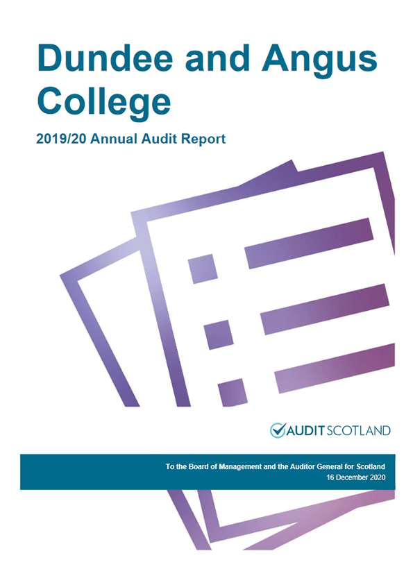 Report cover: Dundee and Angus College annual audit 2019/20