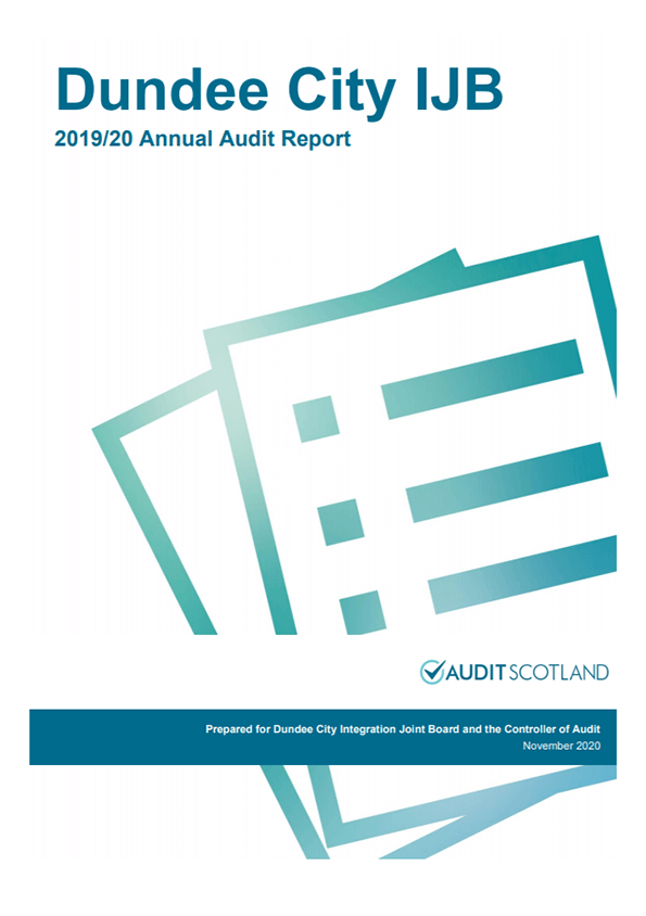 Report cover: Dundee City Integration Joint Board annual audit 2019/20