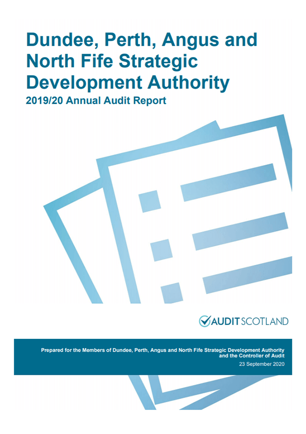 Report cover: Dundee, Perth, Angus and North Fife Strategic Development Planning Authority annual audit 2019/20