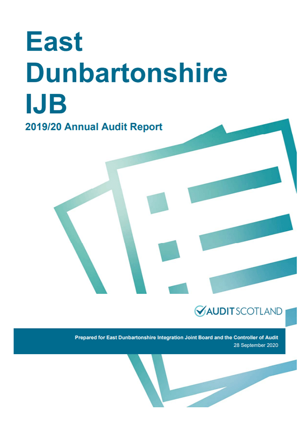 Report cover: East Dunbartonshire Integration Joint Board annual audit 2019/20