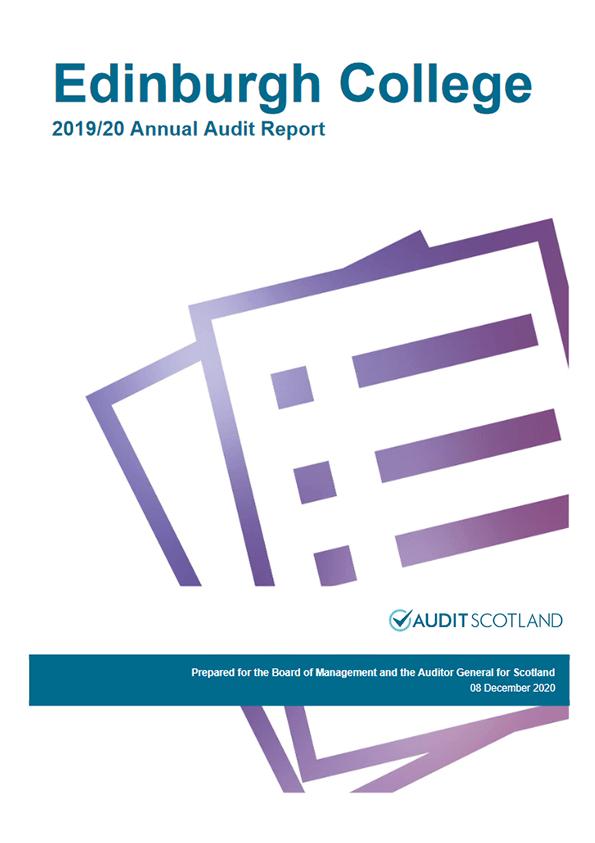Report cover: Edinburgh College annual audit 2019/20