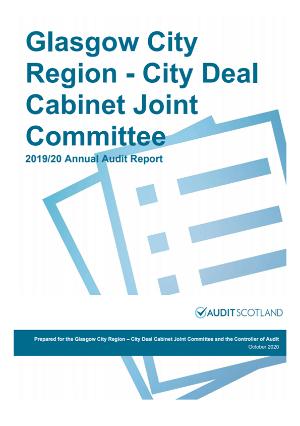Report cover: Glasgow City Region - City Deal Cabinet Joint Committee annual audit 2019/20