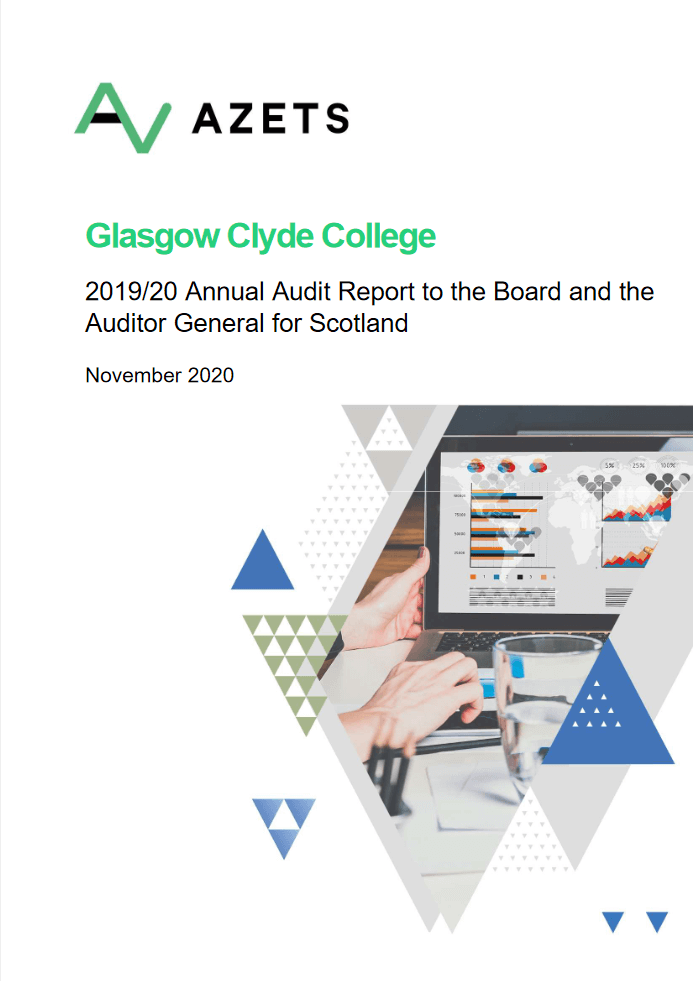 Report cover: Glasgow Clyde College annual audit 2019/20