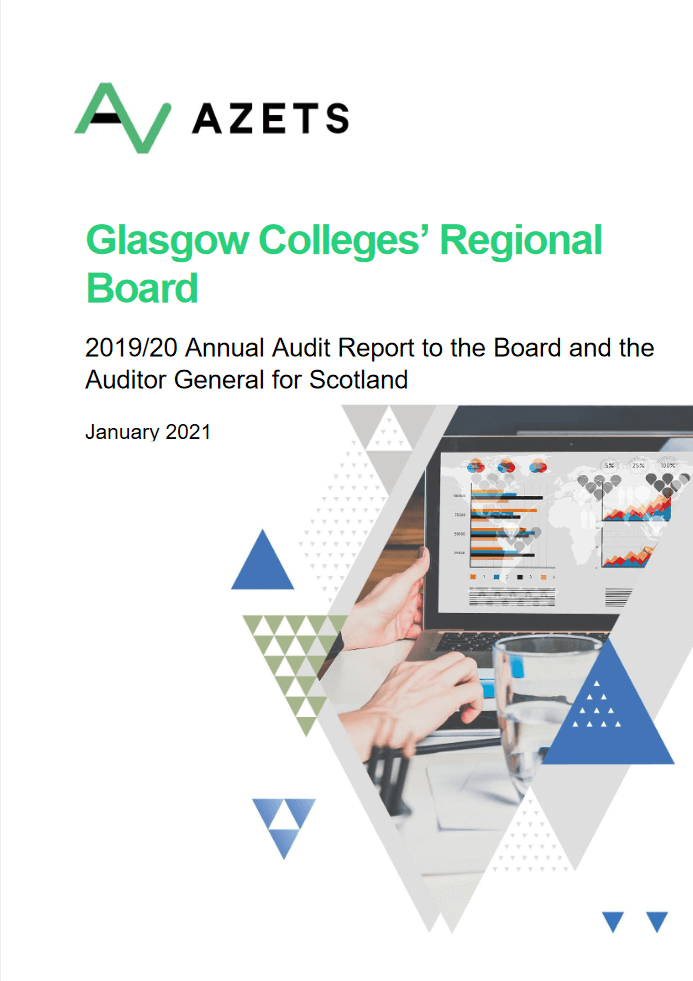 Report cover: Glasgow Colleges' Regional Board annual audit 2019/20