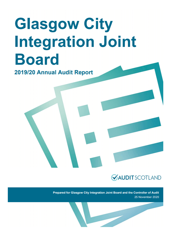 Report cover: Glasgow City Integration Joint Board annual audit 2019/20