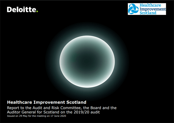 Report cover: Healthcare Improvement Scotland annual audit report 2019/20