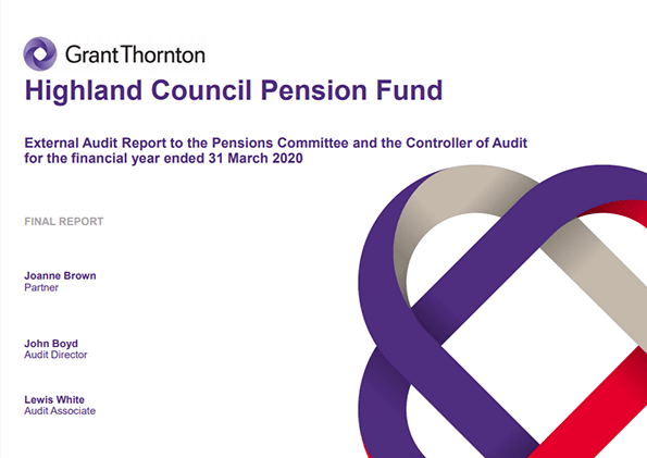 Report cover: Highland Council Pension Fund annual audit 2019/20